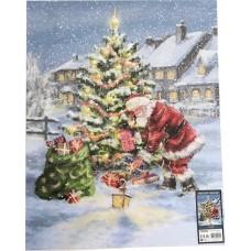 Drobė su kalėdiniu piešiniu ir LED šviesa