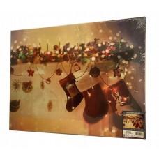 Drobė su kalėdiniu piešiniu ir apšvietimu