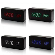 Skaitmeninis medžio imitacijos LED laikrodis-žadintuvas