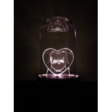 Naktinė  LED lempa - dekoracija su širdele