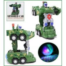 """Šarvuotas automobilis """"KHILONA Combat deformation deformated robot"""" su šviesos, muzikos ir smūgio funkcija"""